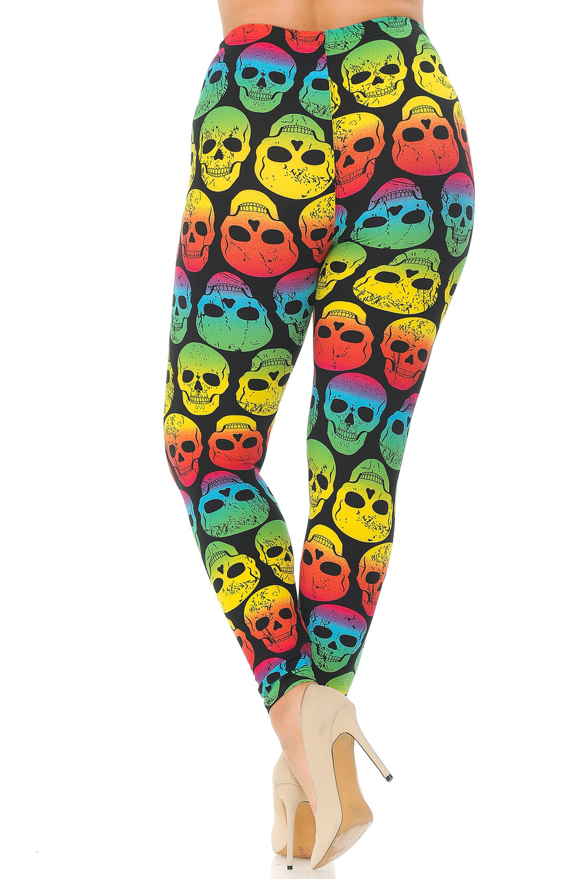 Rear view image of Buttery Soft Rainbow Skull Plus Size Leggings