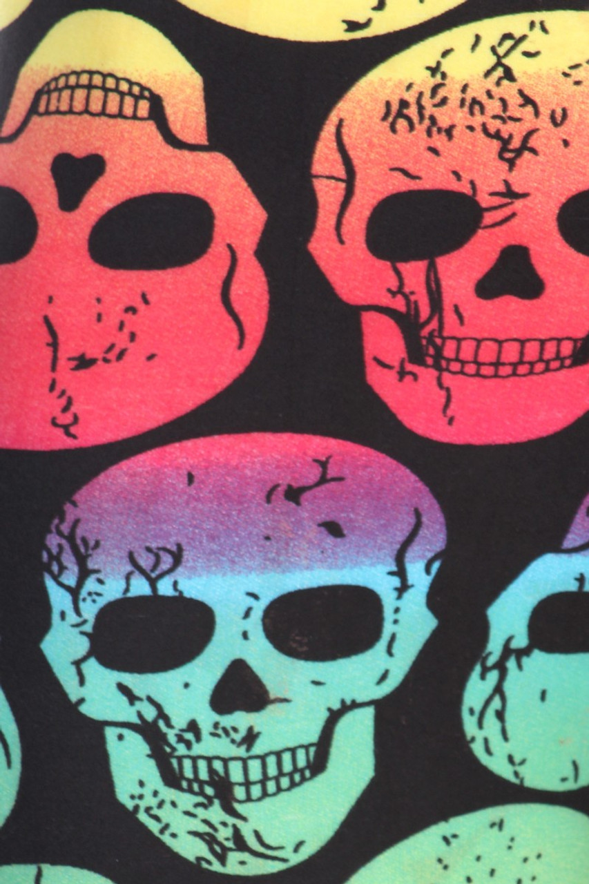 Close up fabric swatch of Close up fabric image of Buttery Soft Rainbow Skull Plus Size Leggings