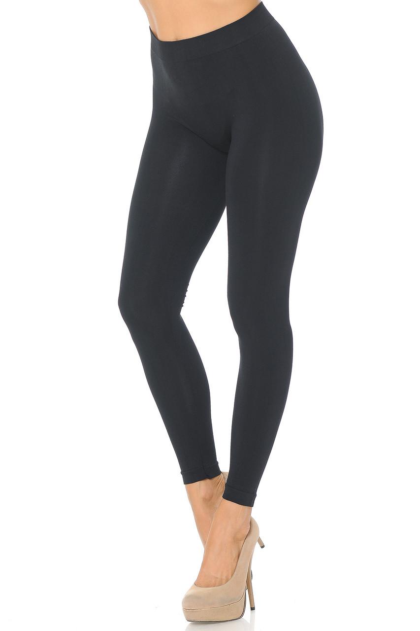Left side view image of Black Premium Nylon Spandex Solid Basic Leggings