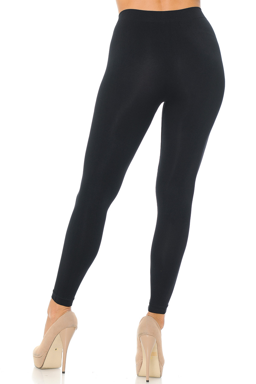 Rear view image of Black Premium Nylon Spandex Solid Basic Leggings