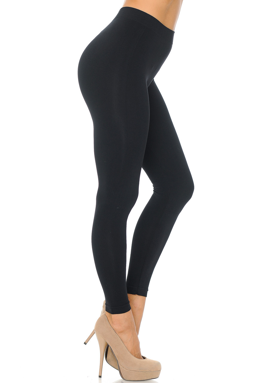 Right side view image of Right Premium Nylon Spandex Solid Basic Leggings