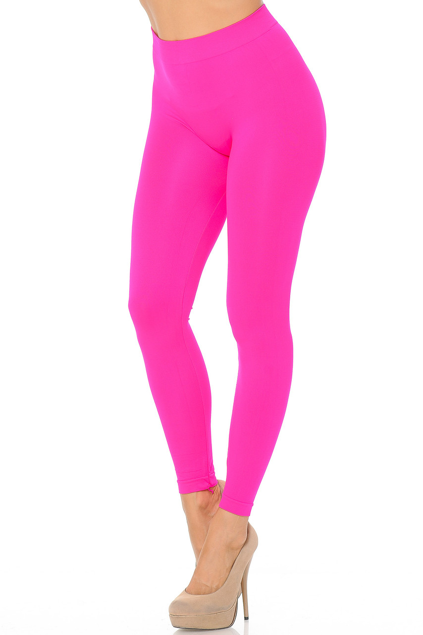 Left side view image of Neon Pink Premium Nylon Spandex Solid Basic Leggings