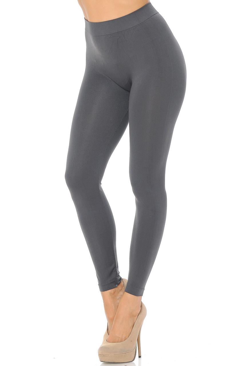 Left side view image of Charcoal Premium Nylon Spandex Solid Basic Leggings