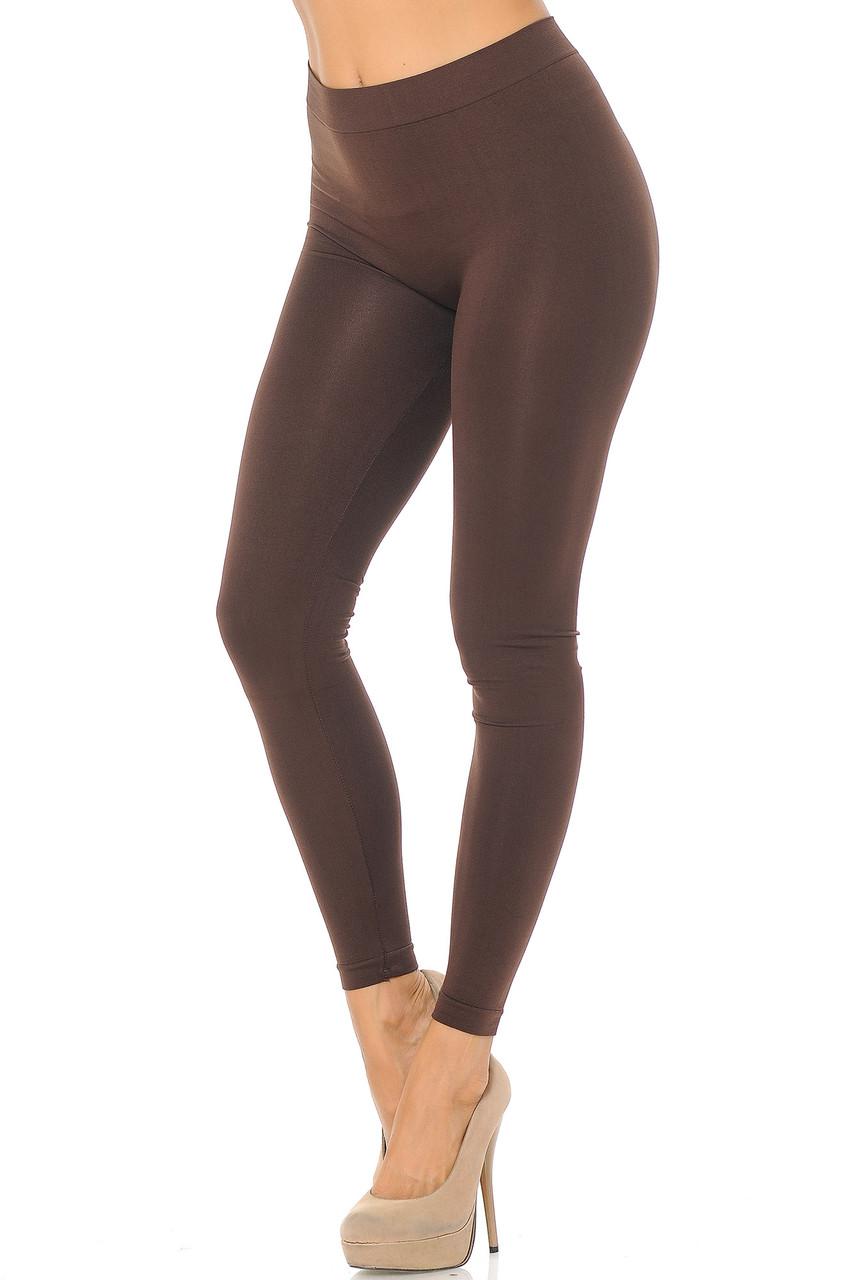 Left side view image of Brown Premium Nylon Spandex Solid Basic Leggings