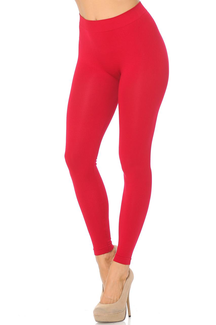 Left side view image of Red Premium Nylon Spandex Solid Basic Leggings