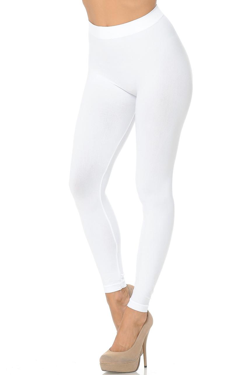 Left side view image of White Premium Nylon Spandex Solid Basic Leggings