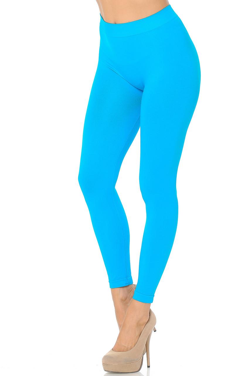 Left side view image of Turquoise Premium Nylon Spandex Solid Basic Leggings
