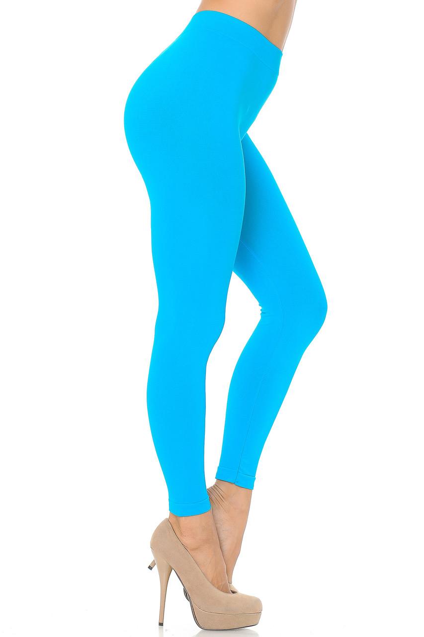 Right side view image of Turquoise Premium Nylon Spandex Solid Basic Leggings