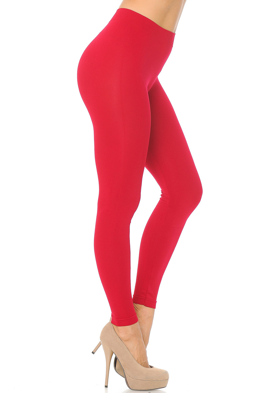 Right side view image of Red Premium Nylon Spandex Solid Basic Leggings