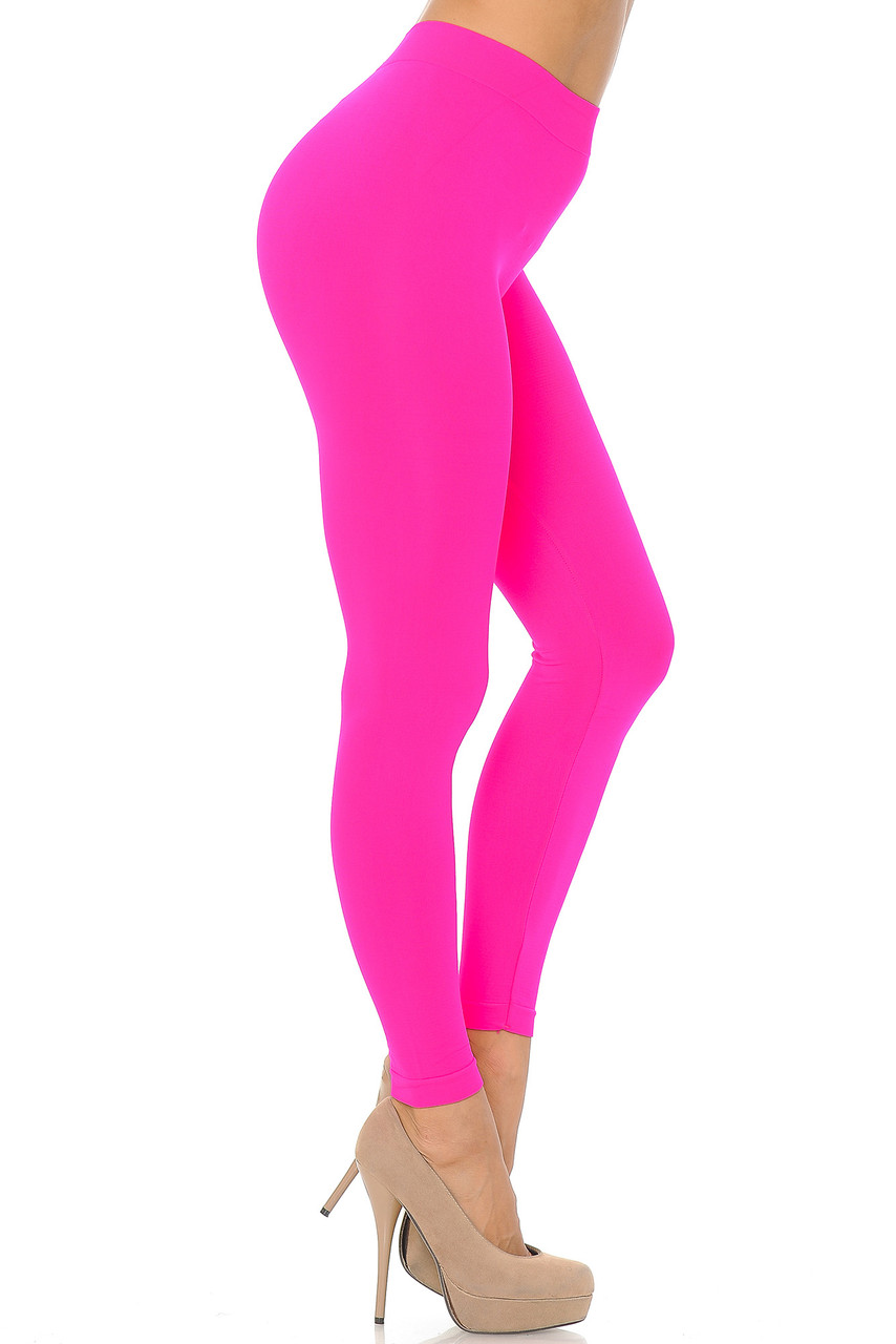 Right side view image of Neon Pink Premium Nylon Spandex Solid Basic Leggings