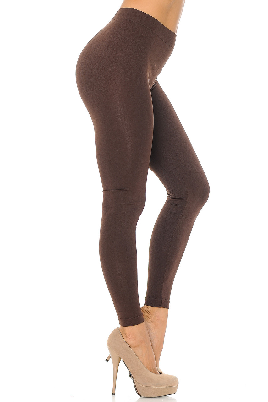 Right side view image of Brown Premium Nylon Spandex Solid Basic Leggings