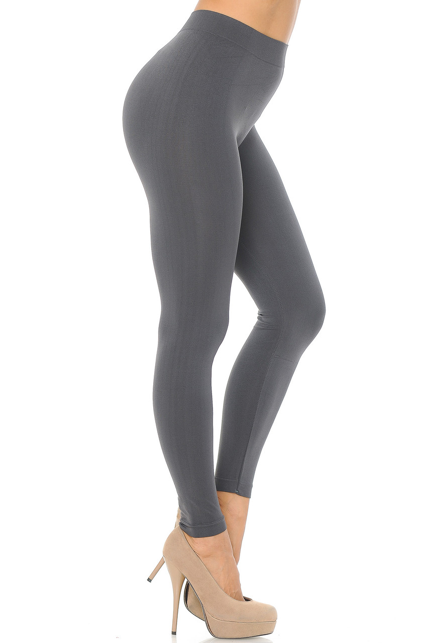 Right side view image of Charcoal Premium Nylon Spandex Solid Basic Leggings