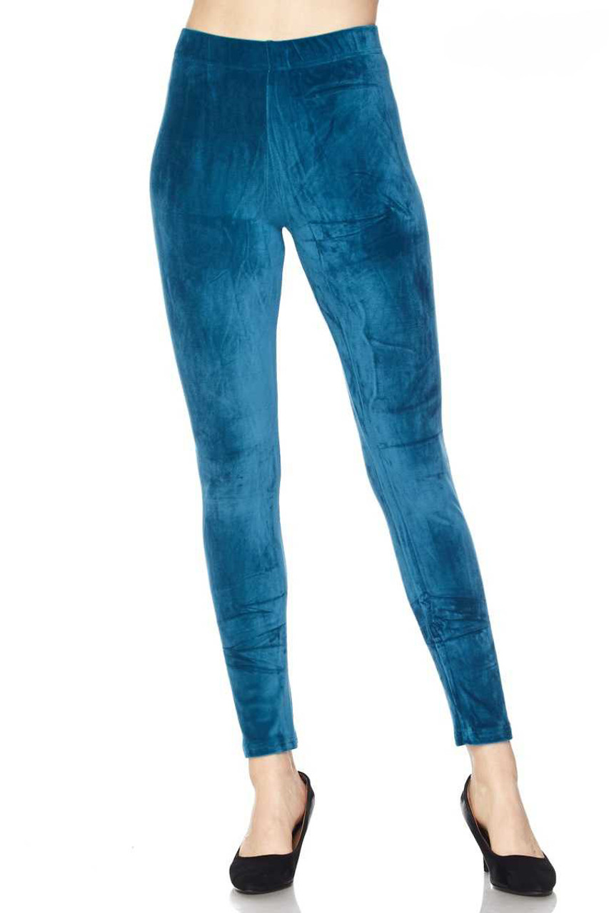 Front view image of Teal Solid Brushed Velour Velvet Plus Size Leggings