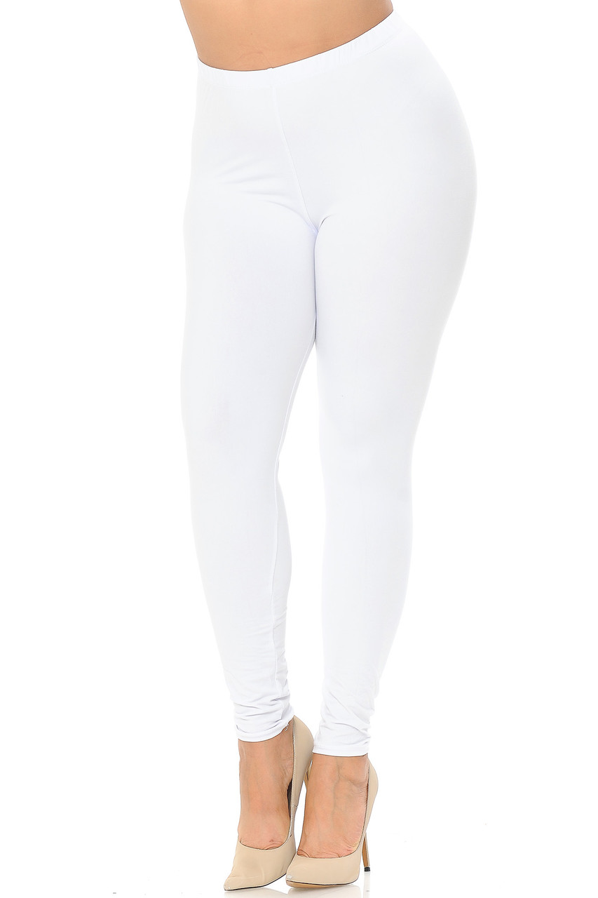 Angled front view image of White Buttery Soft Basic Solid Extra Plus Size Leggings - 3X-5X - EEVEE