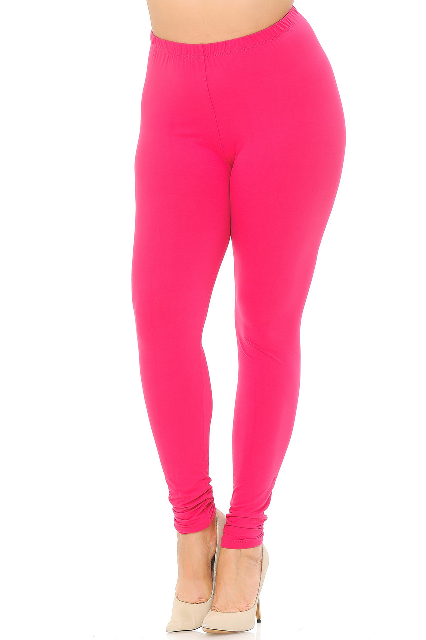 Angled front view image of Fuchsia Buttery Soft Basic Solid Extra Plus Size Leggings - 3X-5X - EEVEE