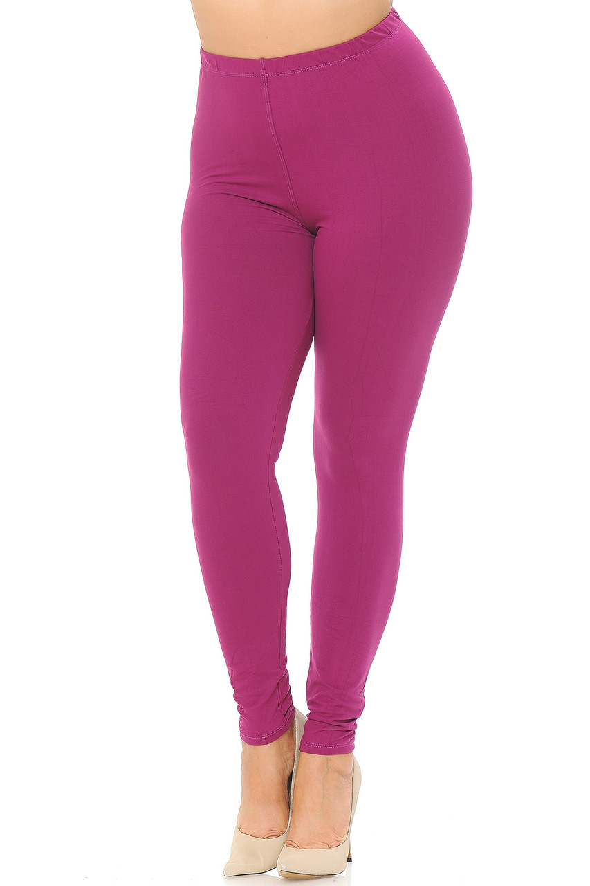 Angled front view image of Magenta Buttery Soft Basic Solid Extra Plus Size Leggings - 3X-5X - EEVEE