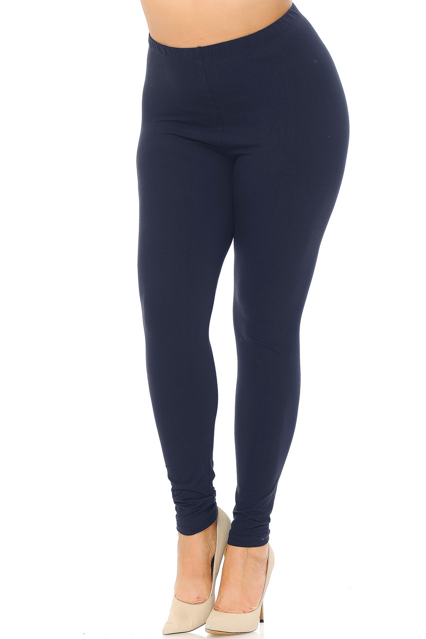Angled front view image of Navy Buttery Soft Basic Solid Extra Plus Size Leggings - 3X-5X - EEVEE
