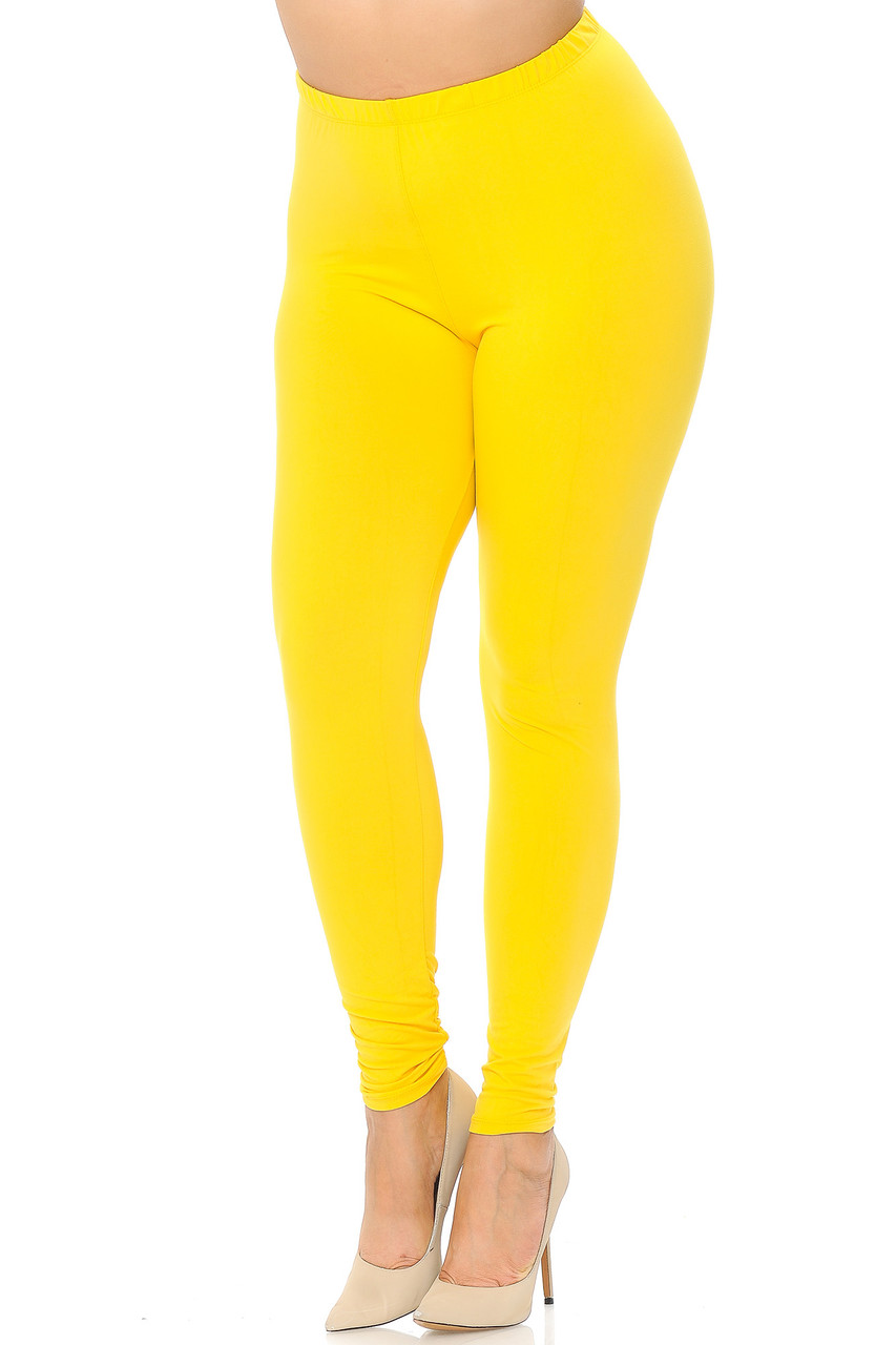 Angled front view image of Yellow Buttery Soft Basic Solid Extra Plus Size Leggings - 3X-5X - EEVEE