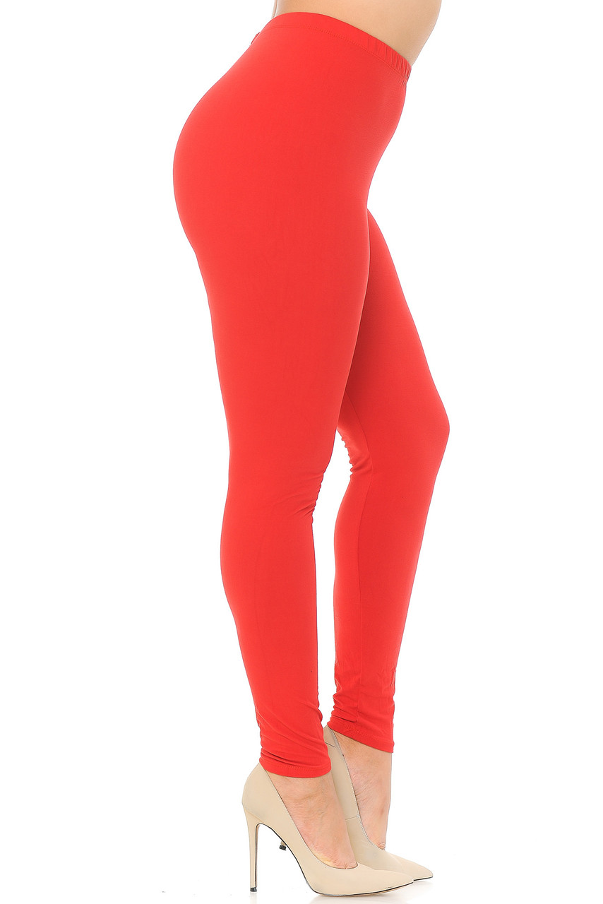 Left view image of Red Buttery Soft Basic Solid Extra Plus Size Leggings - 3X-5X - EEVEE