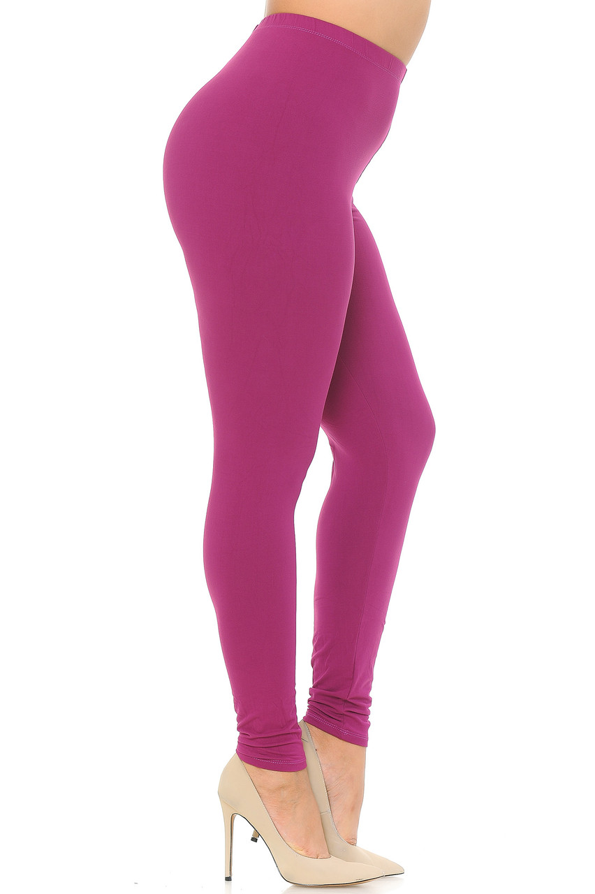 Left view image of Magenta Buttery Soft Basic Solid Extra Plus Size Leggings - 3X-5X - EEVEE