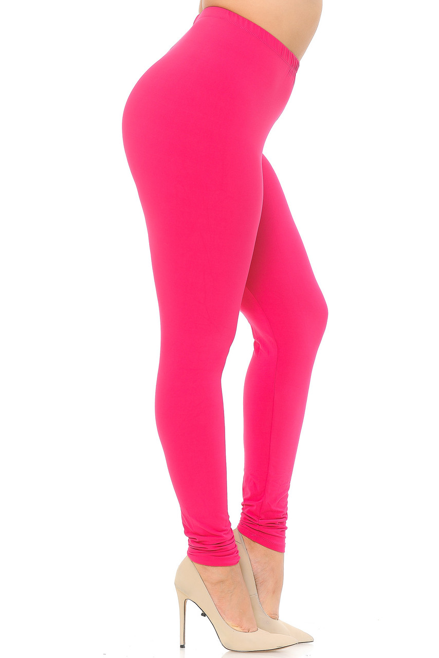 Left view image of Fuchsia Buttery Soft Basic Solid Extra Plus Size Leggings - 3X-5X - EEVEE