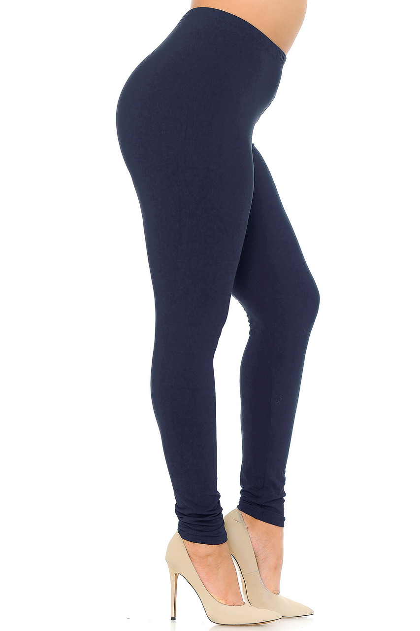 Left view image of Navy Buttery Soft Basic Solid Extra Plus Size Leggings - 3X-5X - EEVEE