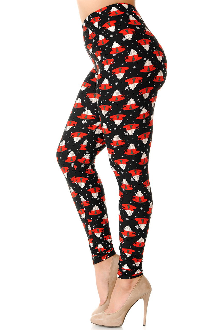 Left side view image of our Buttery Soft Mocha Cappuccino Christmas Coffee Plus Size Leggings