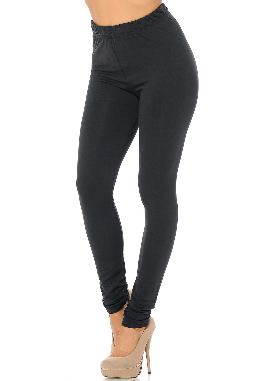 Angled front/partial left side view image of Black Premium Fleece Lined Multi Size Solid Leggings - New Mix