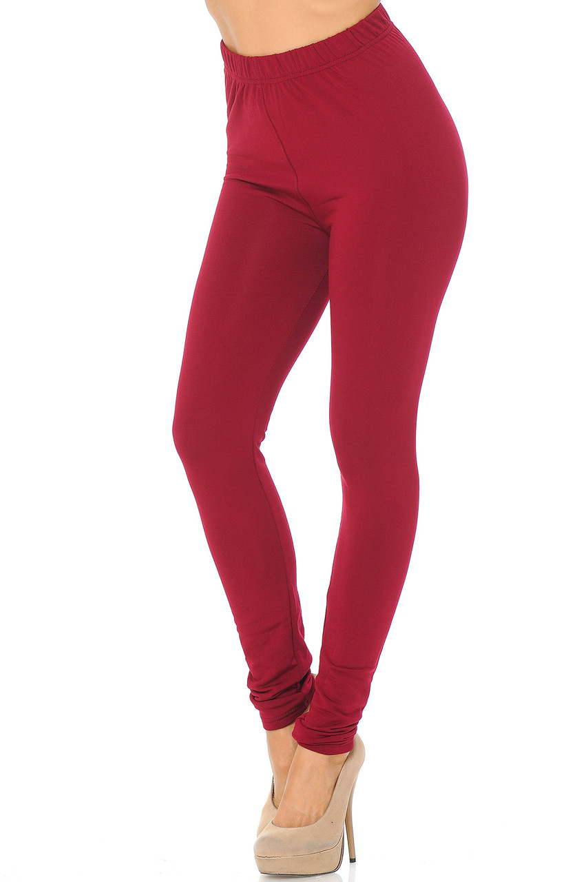 Angled front/partial left side view image of Burgundy Premium Fleece Lined Multi Size Solid Leggings - New Mix