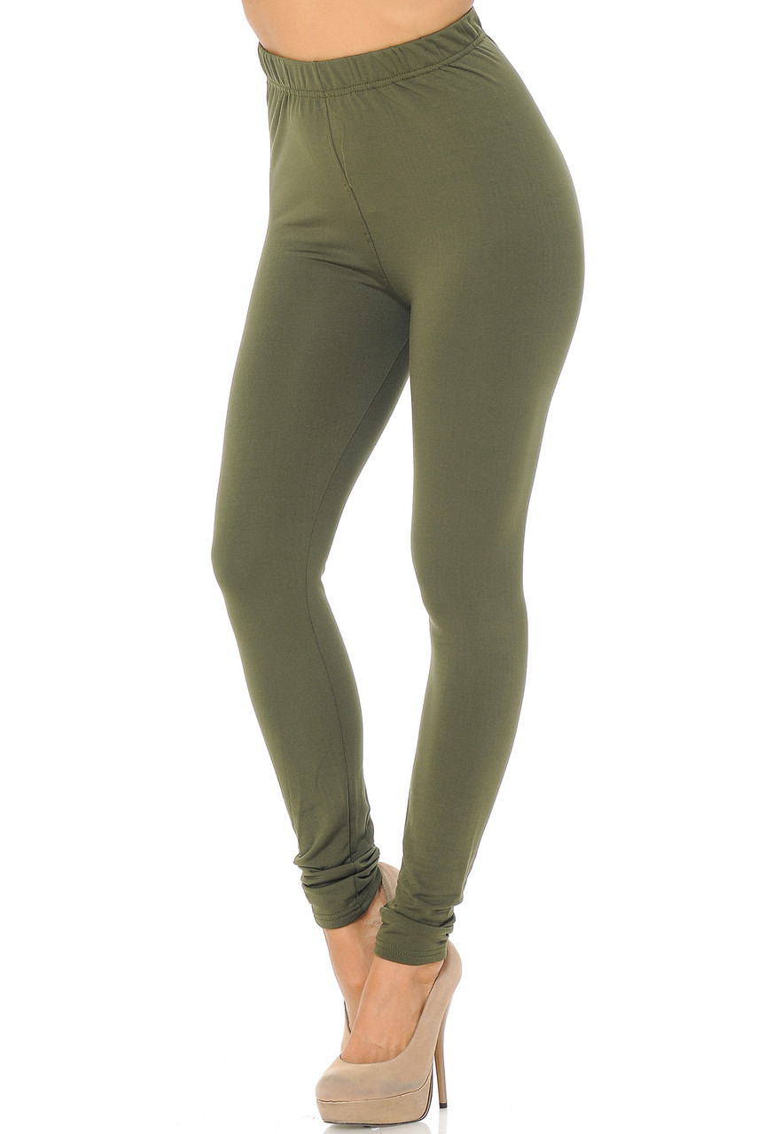Angled front/partial left side view image of Olive Premium Fleece Lined Multi Size Solid Leggings - New Mix