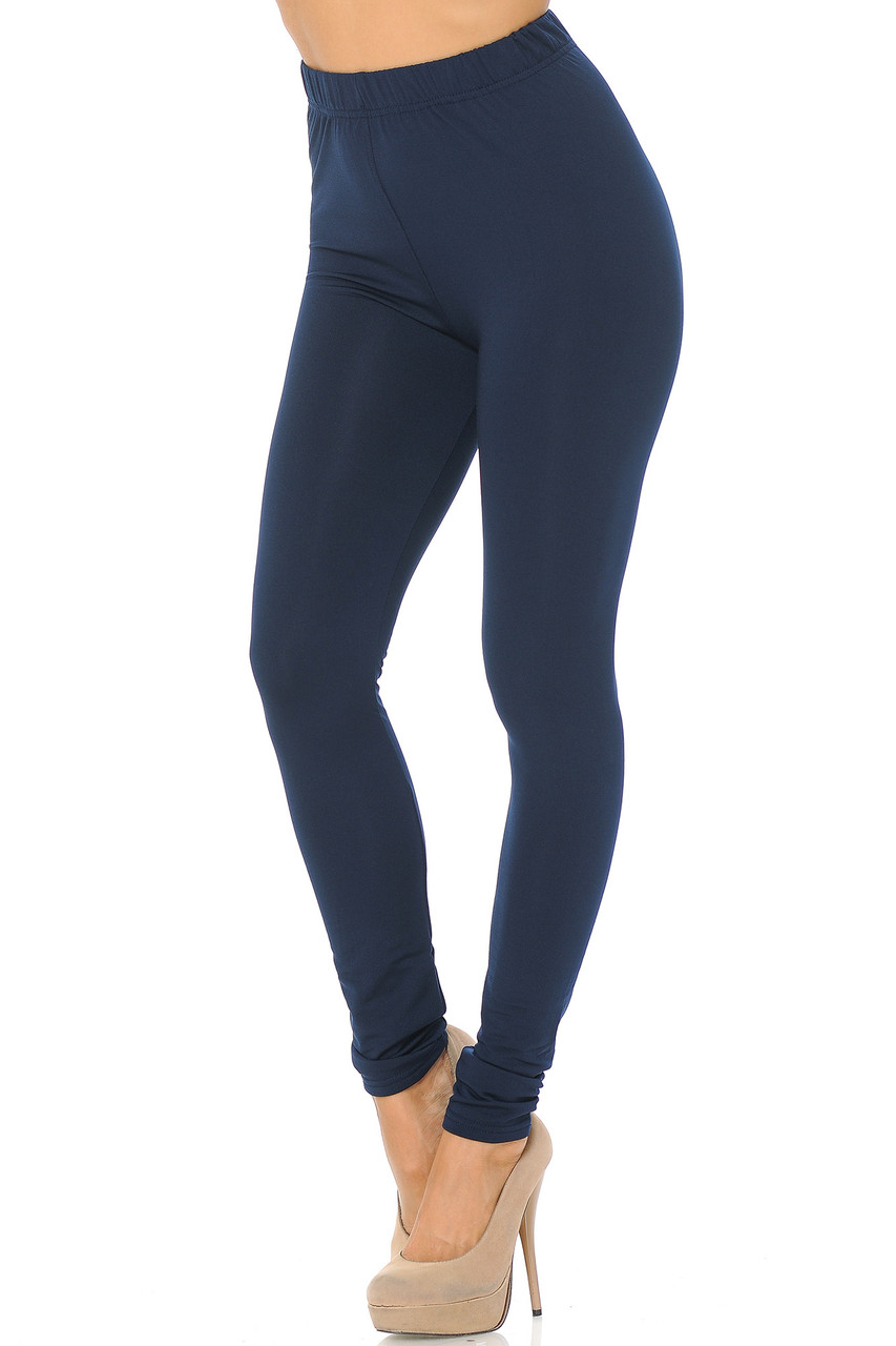 Angled front/partial left side view image of Navy Premium Fleece Lined Multi Size Solid Leggings - New Mix
