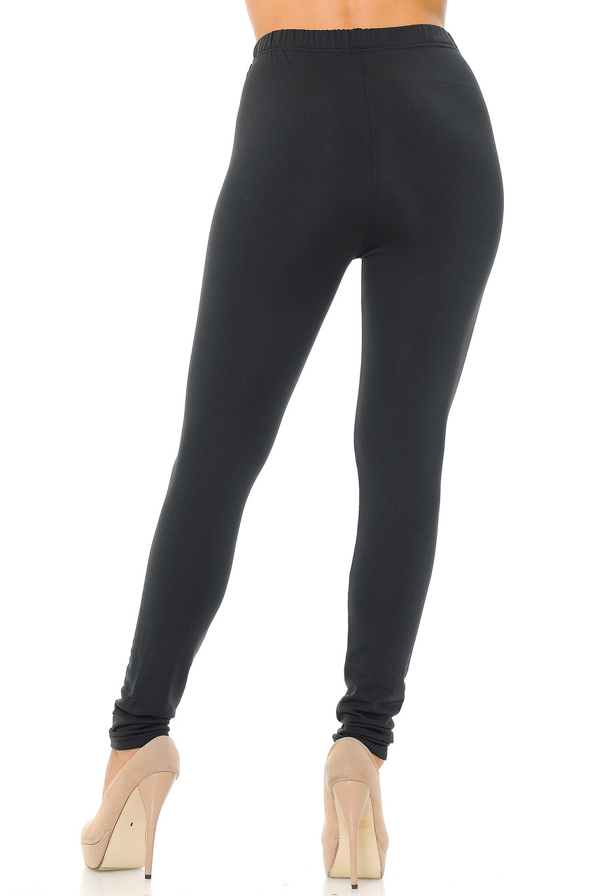 Rear view image of Black Premium Fleece Lined Multi Size Solid Leggings - New Mix