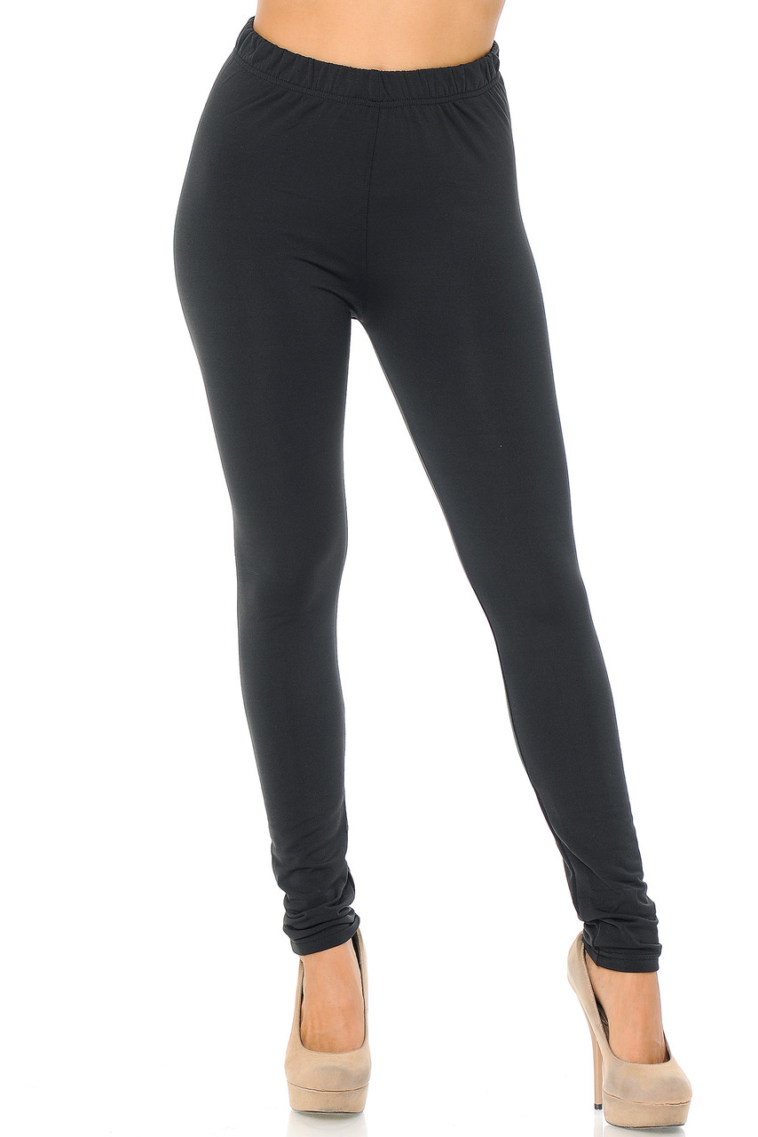 Front view image of Black Premium Fleece Lined Multi Size Solid Leggings - New Mix