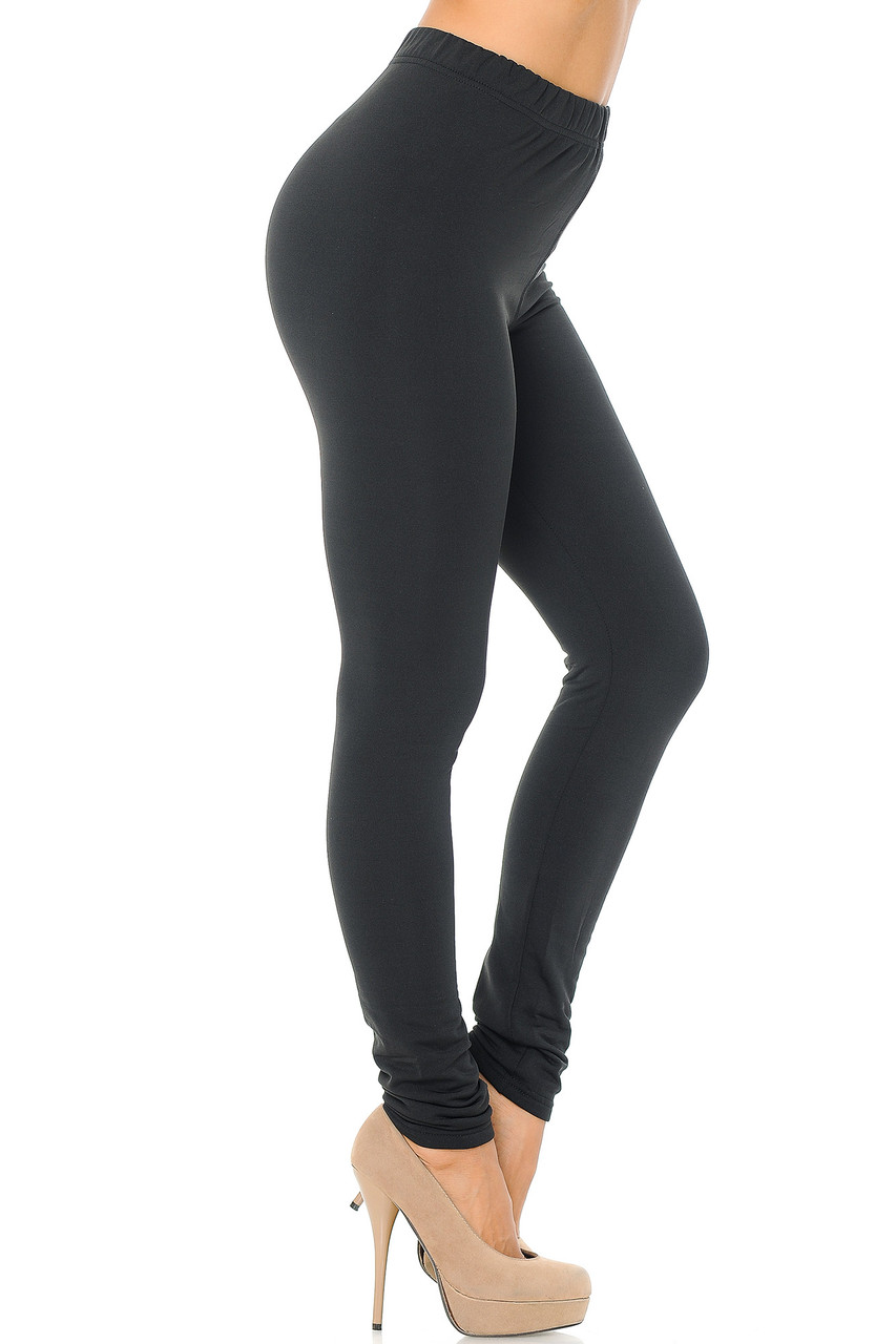 Right side view image of Black Premium Fleece Lined Multi Size Solid Leggings - New Mix