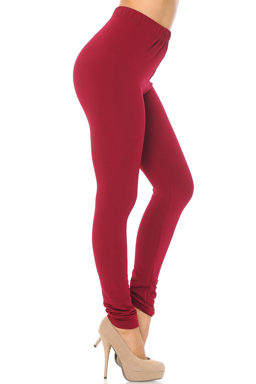 Right side view image of Burgundy Premium Fleece Lined Multi Size Solid Leggings - New Mix
