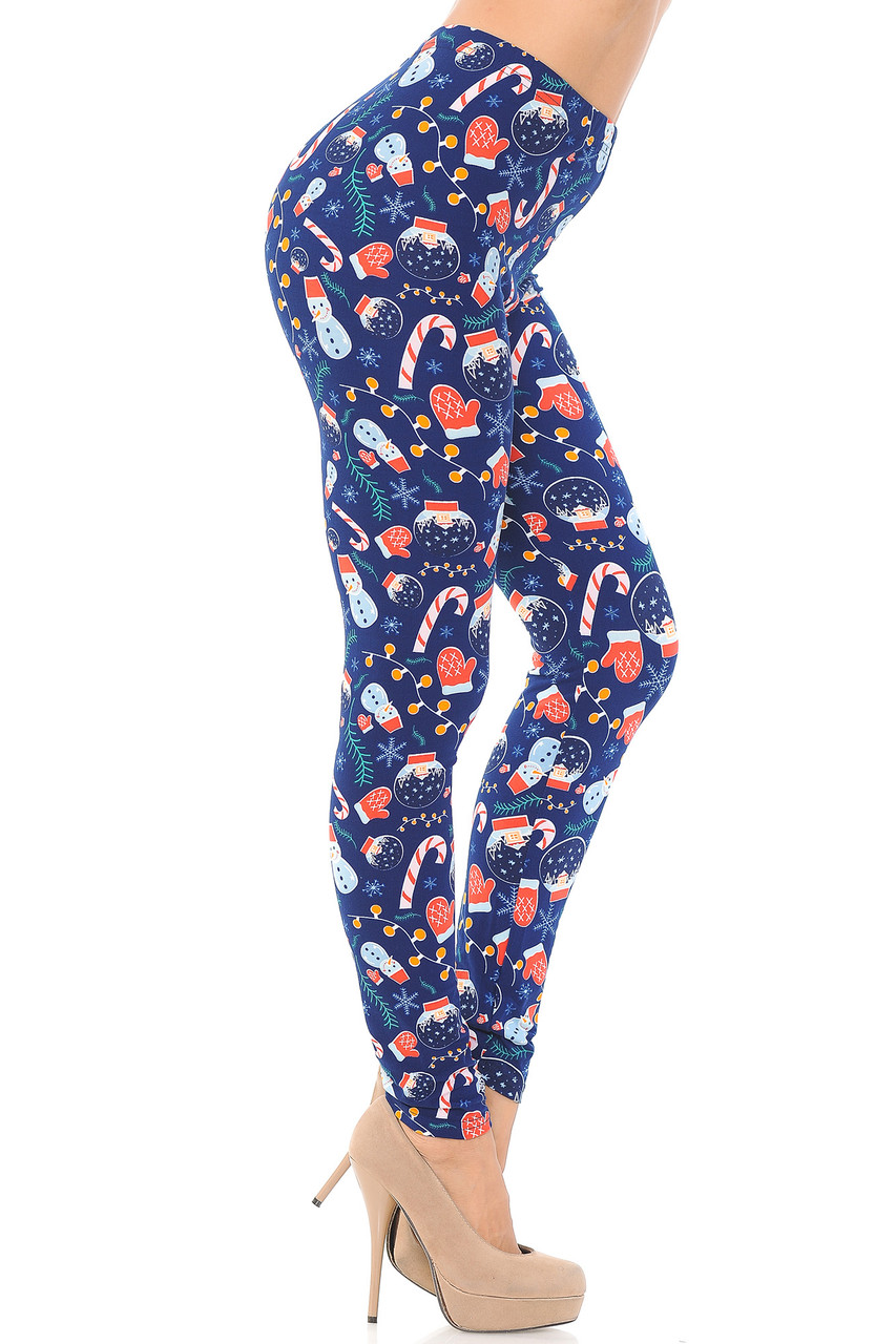 Right side view image of Buttery Soft Memories of Christmas Plus Size Leggings