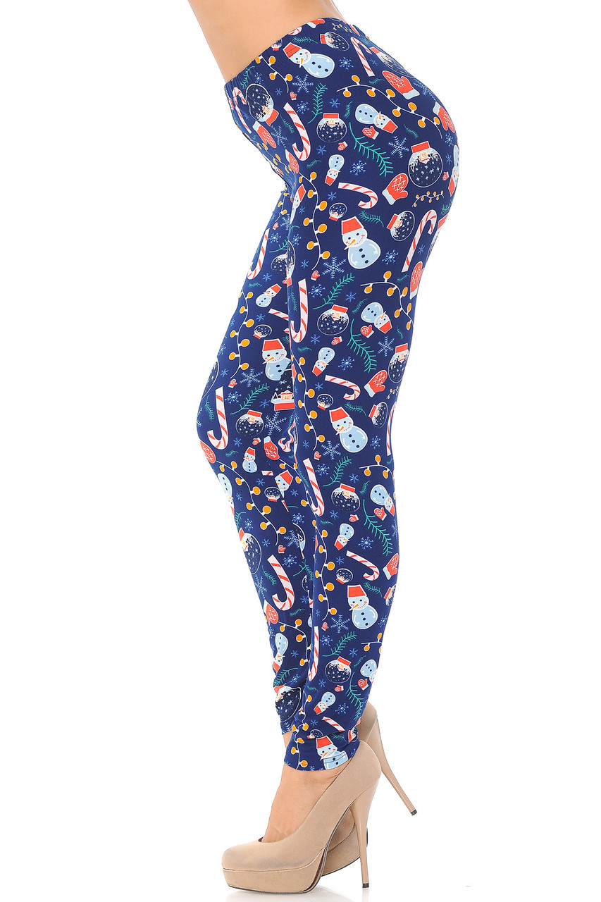 Left side view image of Buttery Soft Memories of Christmas Plus Size Leggings