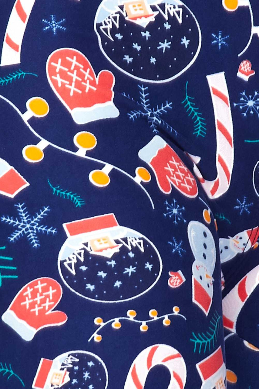 Close up fabric swatch of Buttery Soft Memories of Christmas Plus Size Leggings