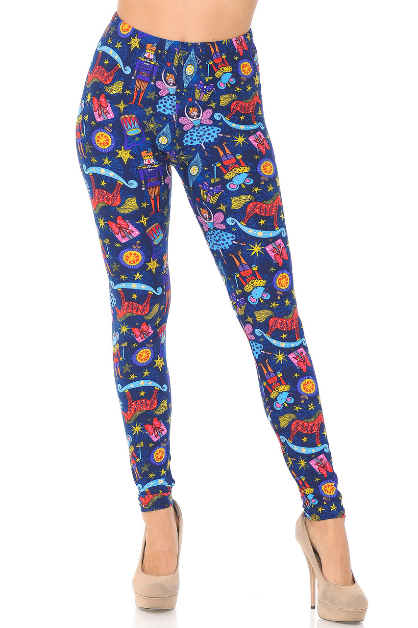 Front view image of our mid rise Buttery Soft Nutcracker Christmas Trinkets Plus Size Leggings featuring an elastic comfort stretch waist.