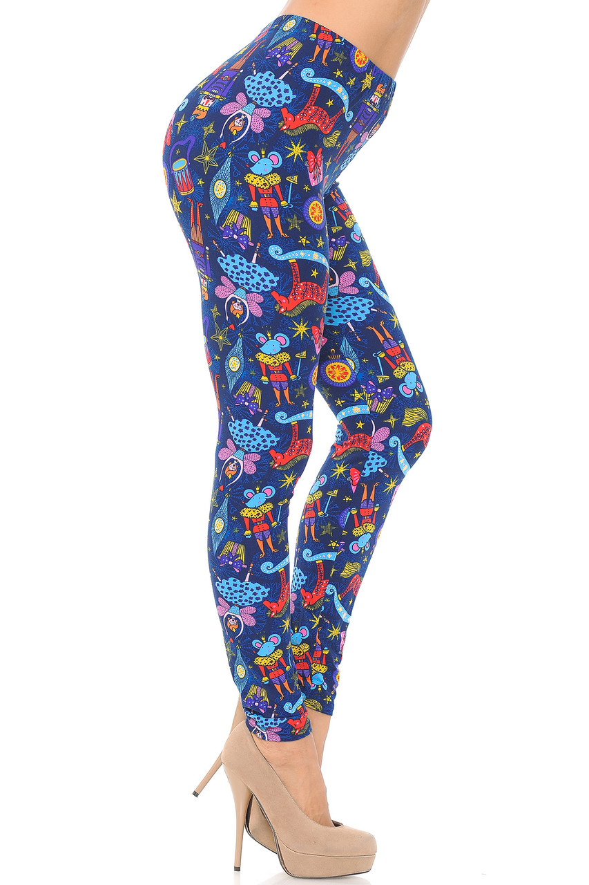 Right side view image of Buttery Soft Nutcracker Christmas Trinkets Extra Plus Size Leggings - 3X-5X