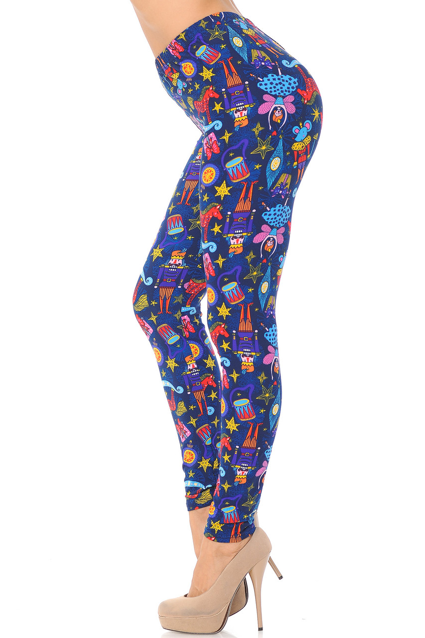 Left side view image of Buttery Soft Nutcracker Christmas Trinkets Extra Plus Size Leggings - 3X-5X