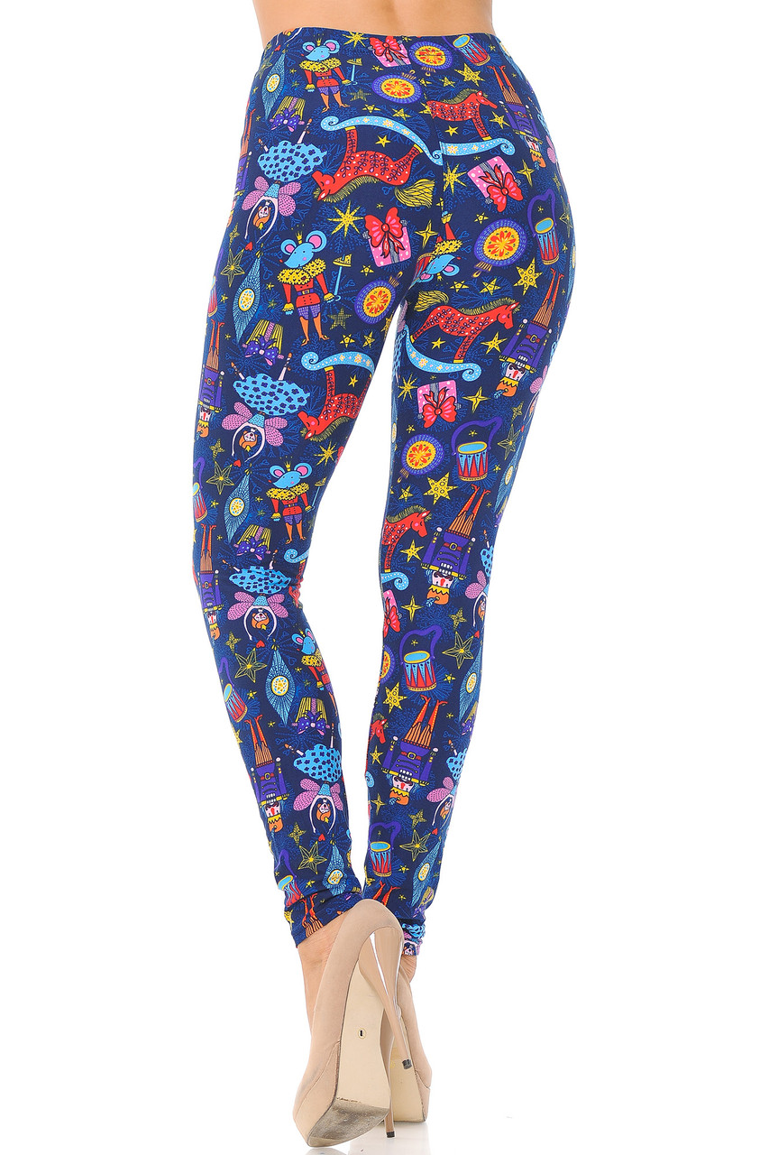 Back view image of Buttery Soft Nutcracker Christmas Trinkets Extra Plus Size Leggings - 3X-5X