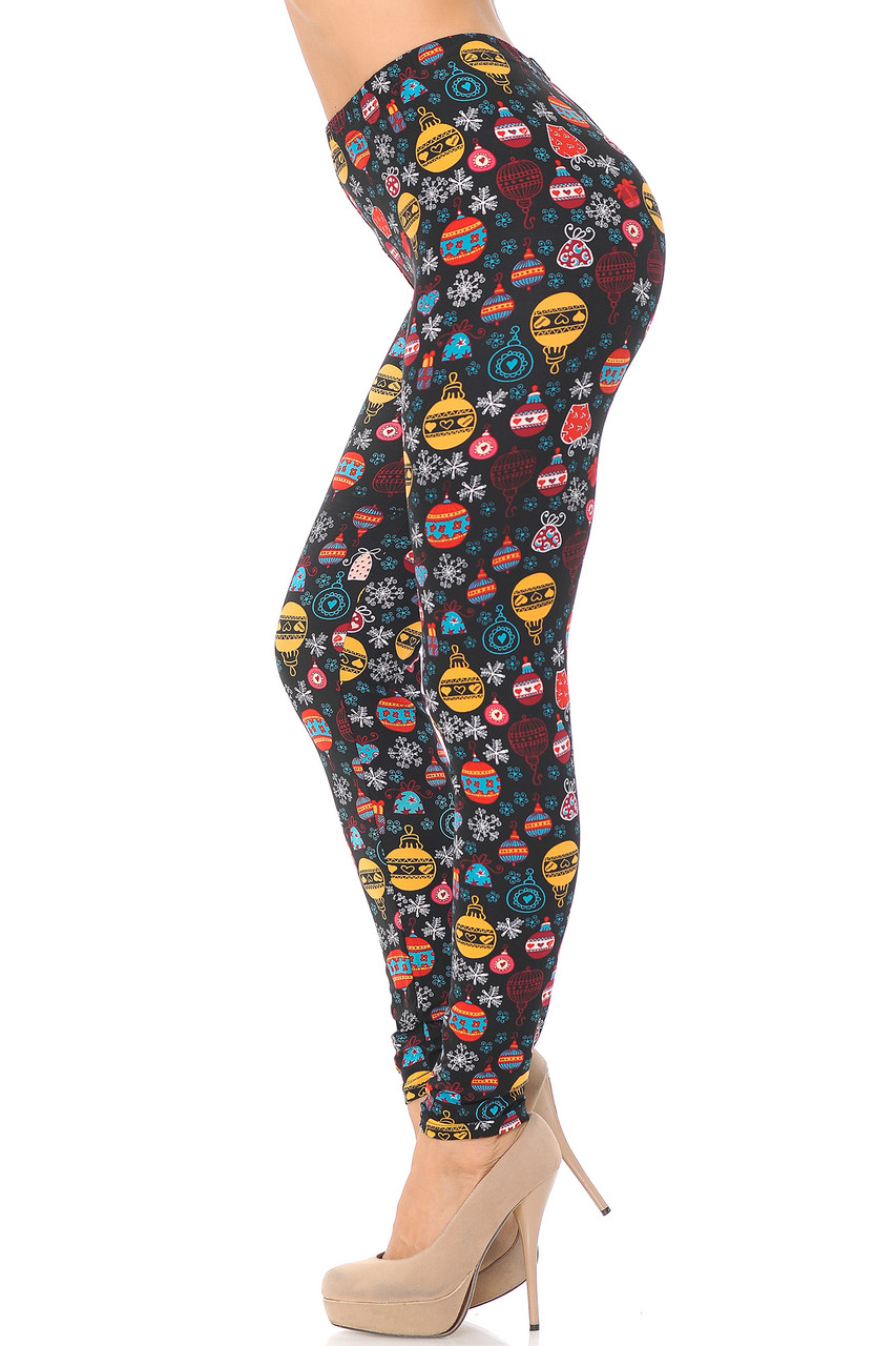 Right side view image of Buttery Soft Colorful Hanging Christmas Ornaments Leggings