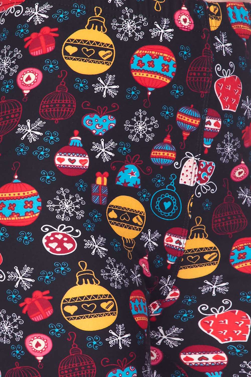 Close up image swatch of Buttery Soft Colorful Hanging Christmas Ornaments Plus Size Leggings