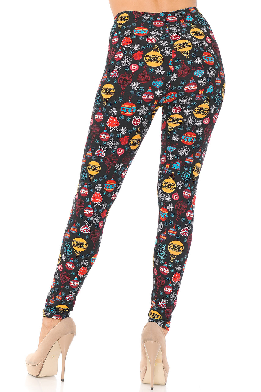 Rea view image of our figure forming Buttery Soft Colorful Hanging Christmas Ornaments Extra Plus Size Leggings featuring a festive and eye-catching look for your holiday fashion mix.