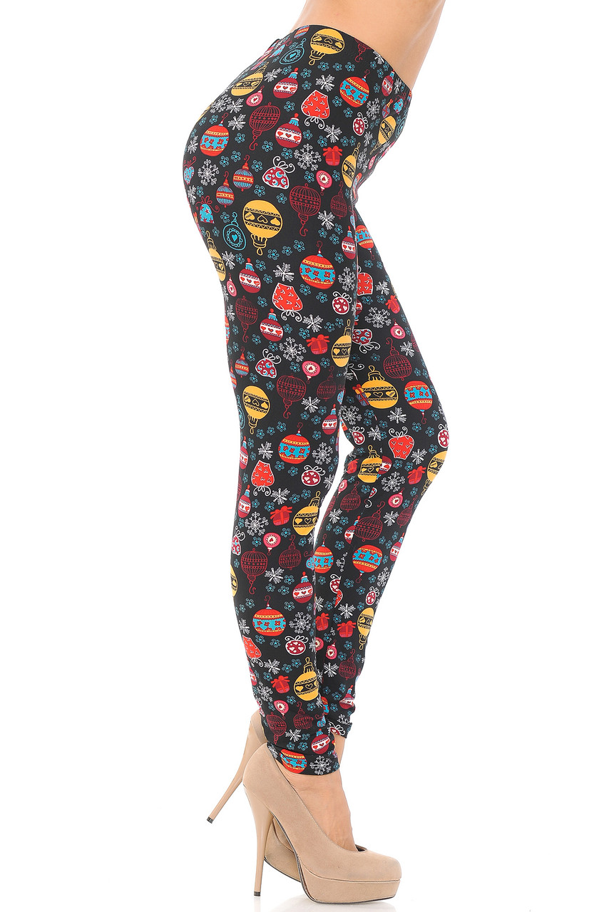 Right side view image of Buttery Soft Colorful Hanging Christmas Ornaments Extra Plus Size Leggings - 3X-5X