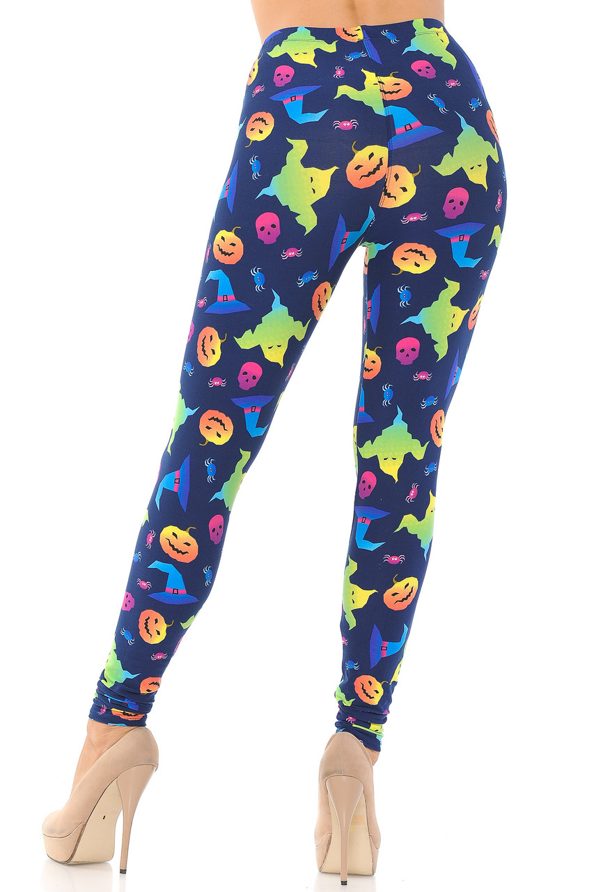 Back view image of our spooky fabulous Buttery Soft Ghostbusters Ghosts Halloween Leggings featuring a super flattering fit.