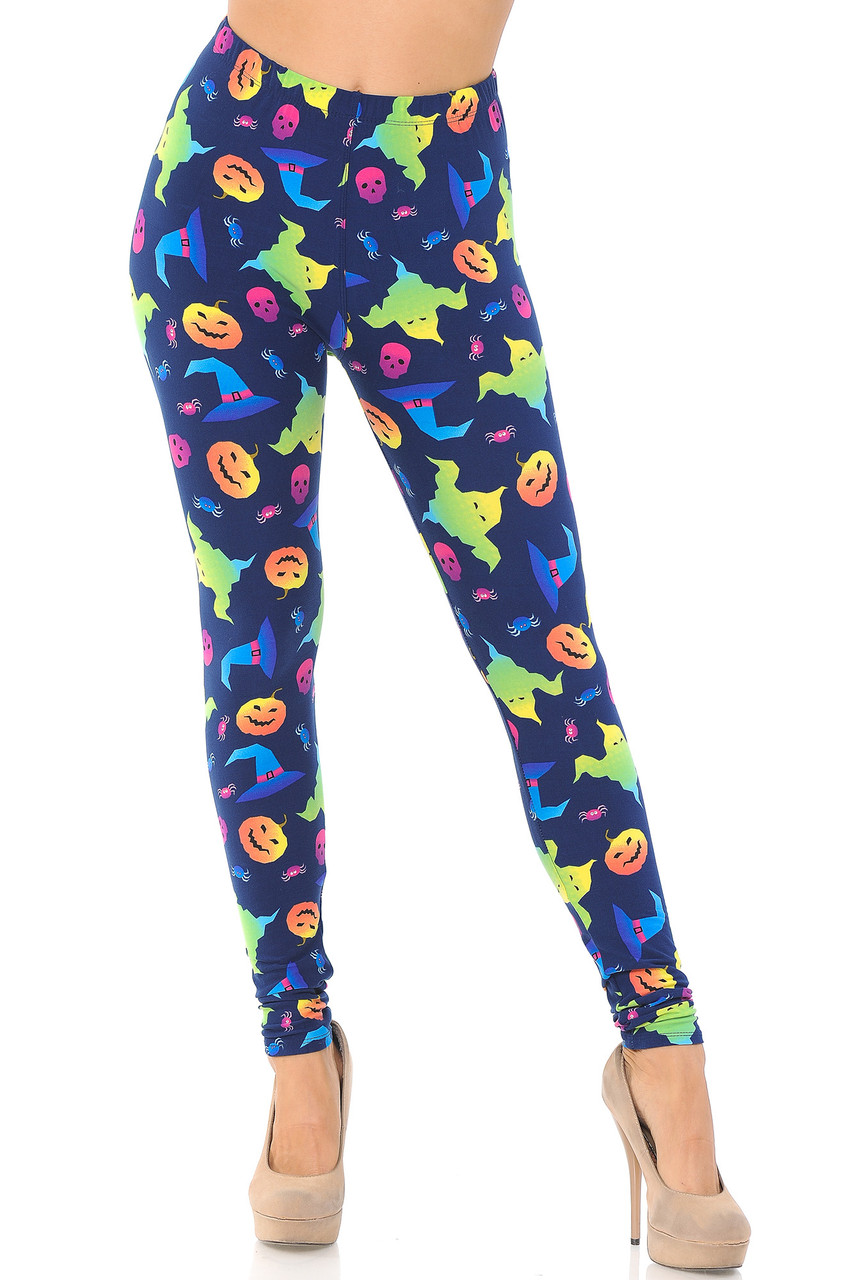 Front view image of our mid rise Buttery Soft Ghostbusters Ghosts Halloween Leggings with an elastic comfort stretch waist.