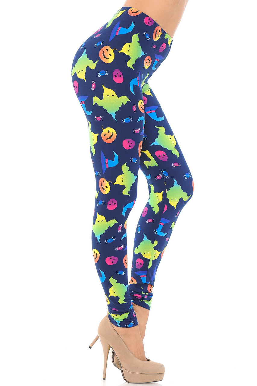 Right side view image of Buttery Soft Ghostbusters Ghosts Halloween Leggings