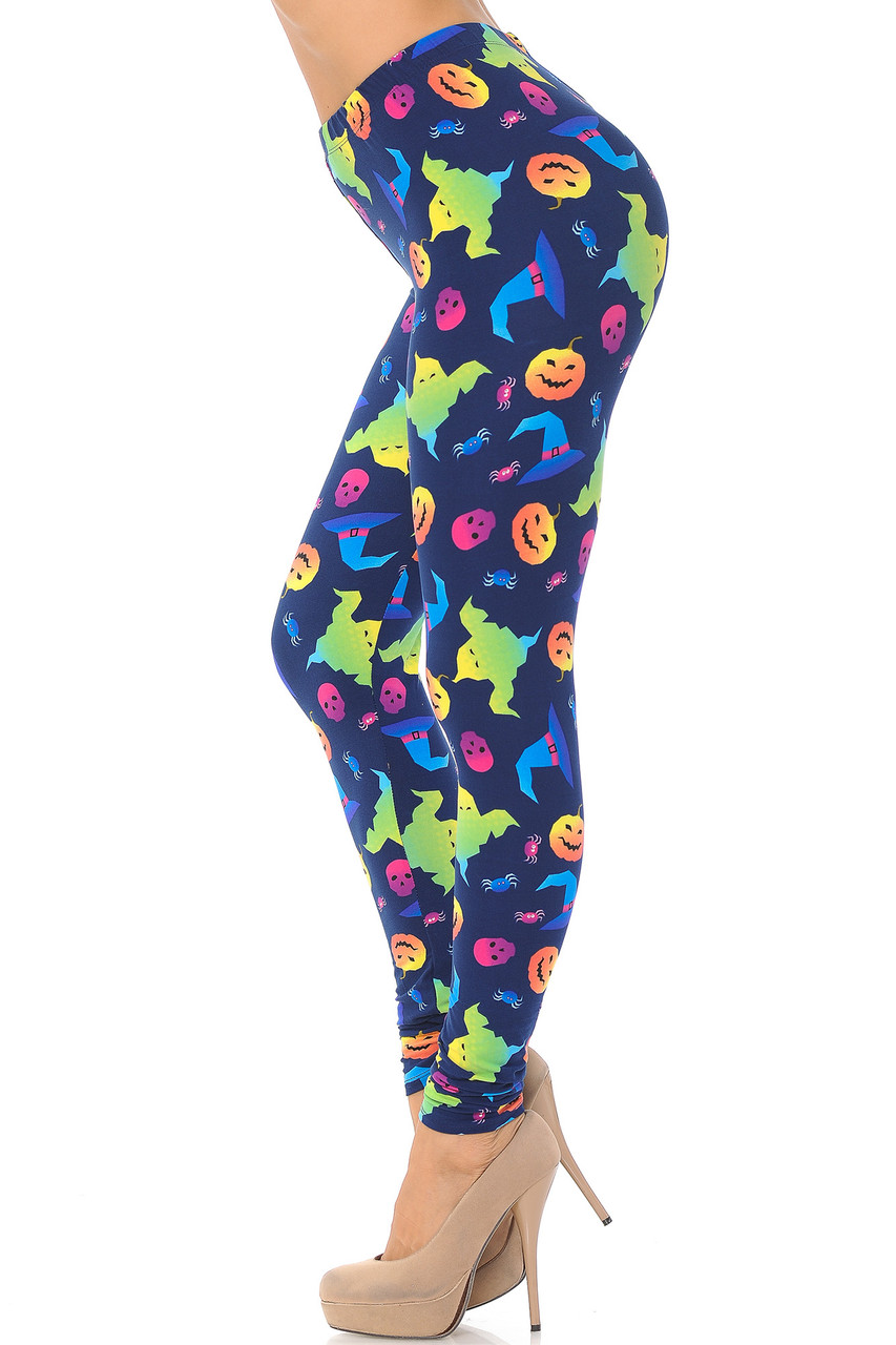Left side view image of Buttery Soft Ghostbusters Ghosts Halloween Leggings